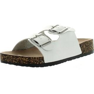 Betani Harper-2 Women Double Strap Cork Gladiator Sandal Slip On Shoes - White - 6 b(m) us