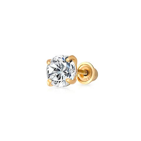 .25CT Tiny Simple Round Cubic Zirconia Solitaire CZ Stud Cartilage Earring For Women For Men Real 14K Gold 3MM