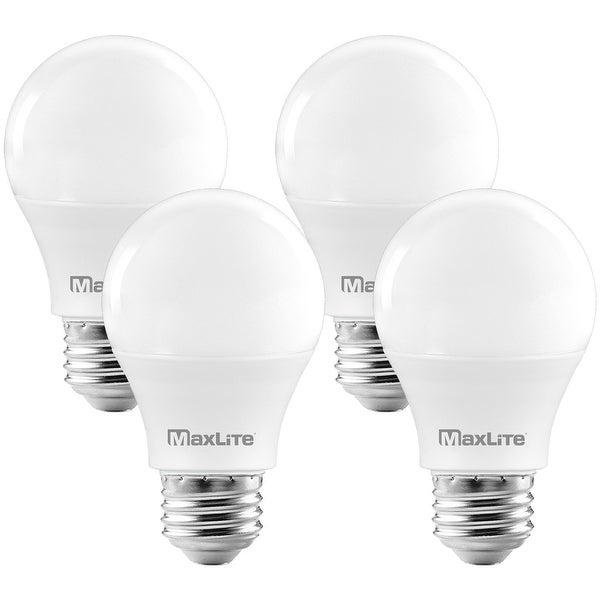 MaxLite A19 LED Bulb, Enclosed Fixture Rated, 60W Equivalent, 800 Lumens, Dimmable, E26 Base, 2700K Soft White, 4-Pack. Opens flyout.