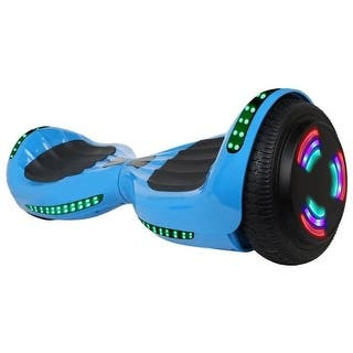 "Flash Wheel UL 2272 Certified Hoverboard 6.5"" Bluetooth Speaker with LED Light Self Balancing Electric Scooter Blue