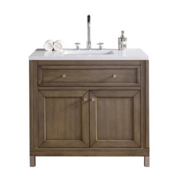 Chicago 36 In. White Washed Walnut Single Vanity With Black Rustic