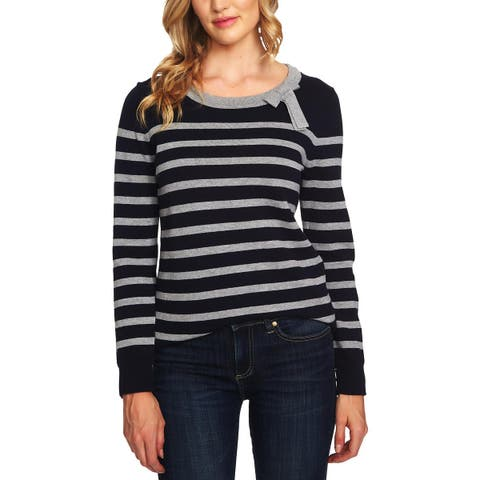 CeCe Womens Pullover Sweater Striped Knit