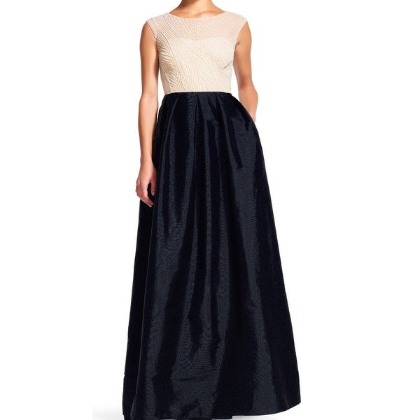 Adrianna Papell NEW Black Nude Women Size 8 Pleated Pearl Beaded ...