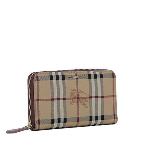 Burberry Womens Elmore Zip Around PVC Leather Large Wallet Camel Check