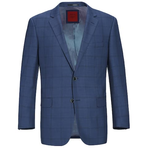 Men's Classic Fit Blue Windowpane Blazer Wool-Blend Sports Coat