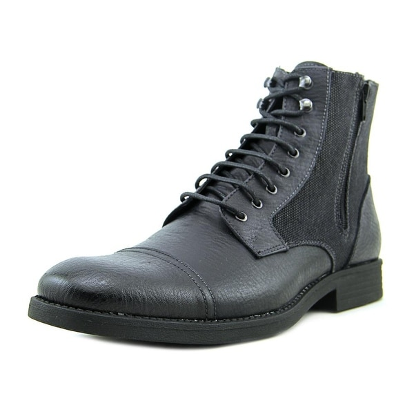 Robert Wayne Edgar Men Round Toe Leather Black Boot
