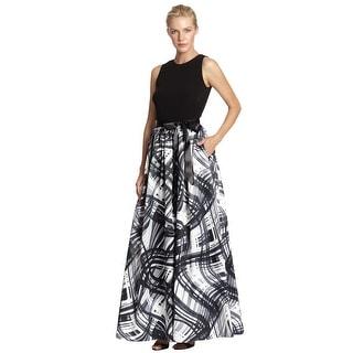 Aidan Mattox Swirling Abstract Print-Skirt Evening Gown Dress - 2