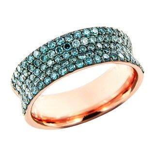 Prism Jewel 1.27Ct Round Cut Ice-Blue Color Diamond Wedding Band