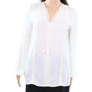 Elie Tahari NEW White Ivory Womens Size XS Tassle Lace Blouse Top