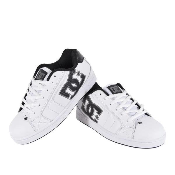 b0b6108a9c53 DC Shoes Men  x27 s White Leather NET 302361 Skateboard Sneakers Tennis  Shoes