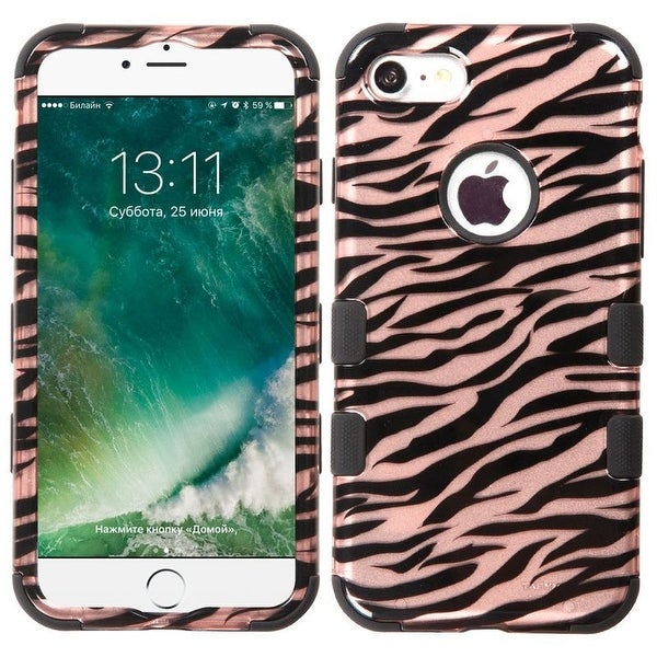 Insten Rose Gold/ Black Zebra Tuff Hard PC/ Silicone Dual Layer Hybrid Rubberized Matte Case Cover For Apple iPhone 7