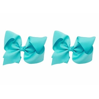 Hair Bow with Extra Large Grosgrain Bow on Alligator Clip, Set of 2