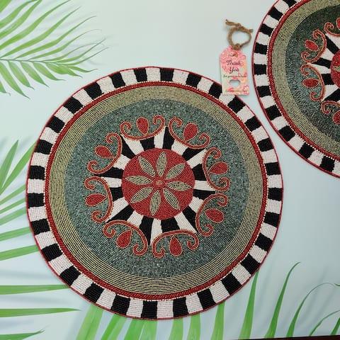 "GAURI KOHLI Celebration Glass Beaded Table Placemats (Set of 2) - 15 X 15"""