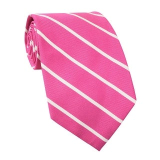 Ralph Lauren Hand Made Striped Classic Silk Tie Pink and White