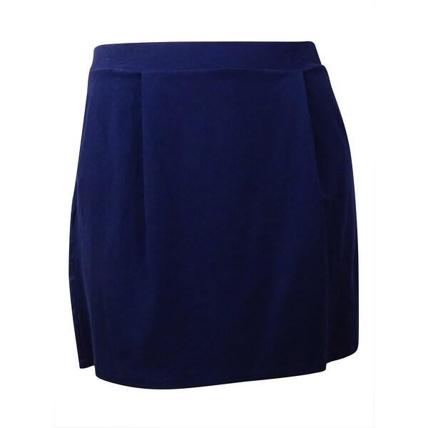 Tommy Hilfiger Women's Pleated Knit Mini Skirt - core navy
