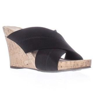 Aerosoles Party Plush Elastic Cross Strap Wedge Slide Sandals - Black