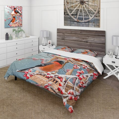 Designart 'Two Chickadee Sit On A Snow-Covered Branch' Traditional Duvet Cover Comforter Set