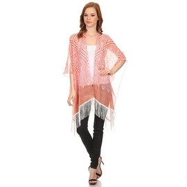 Womens Red Geometric Lightweight Sleeveless Poncho with Armholes and Fringe.