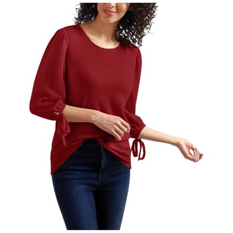 Lucky Brand Womens Pullover Top Knit 3/4 Sleeves