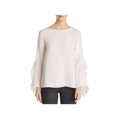 Lafayette 148 New York Womens Catharina Blouse Silk Ruffle Sleeves
