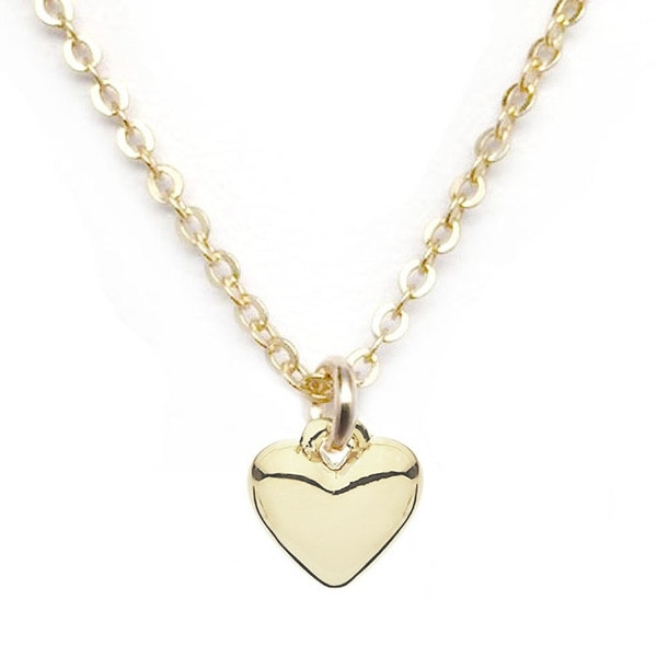 "Julieta Jewelry Puffed Heart Charm Necklace 16"" 14k Over Sterling Silver"