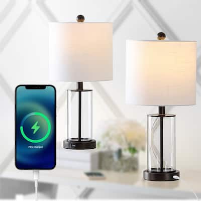 Abner Glass Modern USB Charging LED Table Lamp by JONATHAN Y - 21