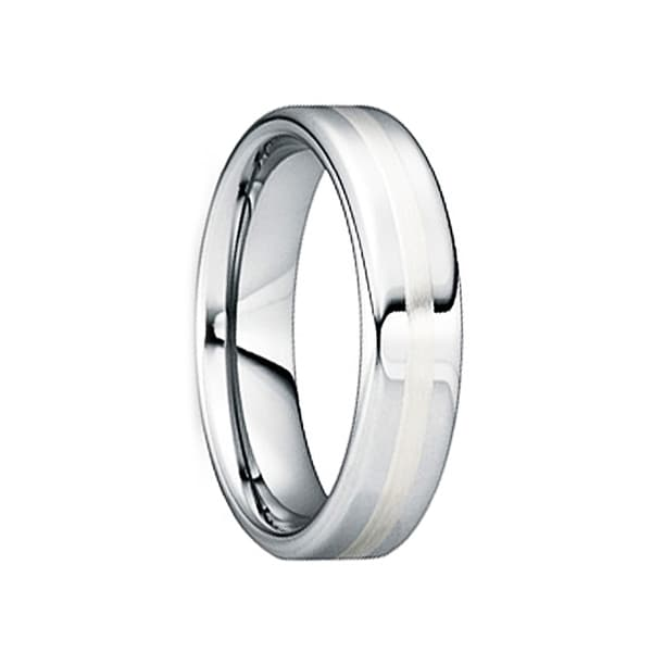 CAELINUS Tungsten Carbide Wedding Ring with 18K White Gold Inlay by Crown Ring - 6mm