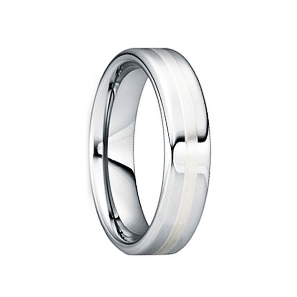 CAELINUS Tungsten Carbide Wedding Ring with 18K White Gold Inlay by Crown Ring - 8mm