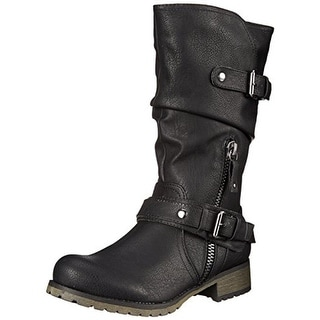 Report Womens Mathews Faux Leather Mid-Calf Motorcycle Boots - 6 medium (b,m)