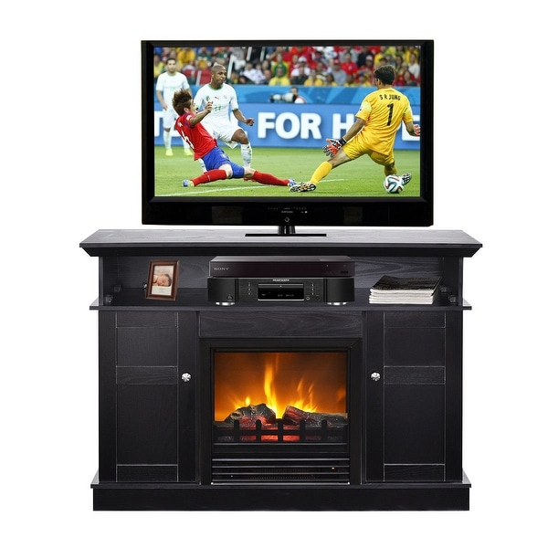 Shop Gymax Fireplace Tv Stand Wood Storage Media Tv
