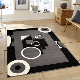 "Allstar Grey Area Rug. Contemporary. Abstract. Traditional. Geometric. Formal. Shapes. Squares. Circles (3' 9"" x 5' 1"")"