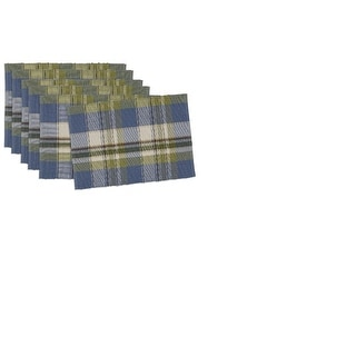 "Set of 6 Decorative Lake House Plaid Table Placemats 19"""
