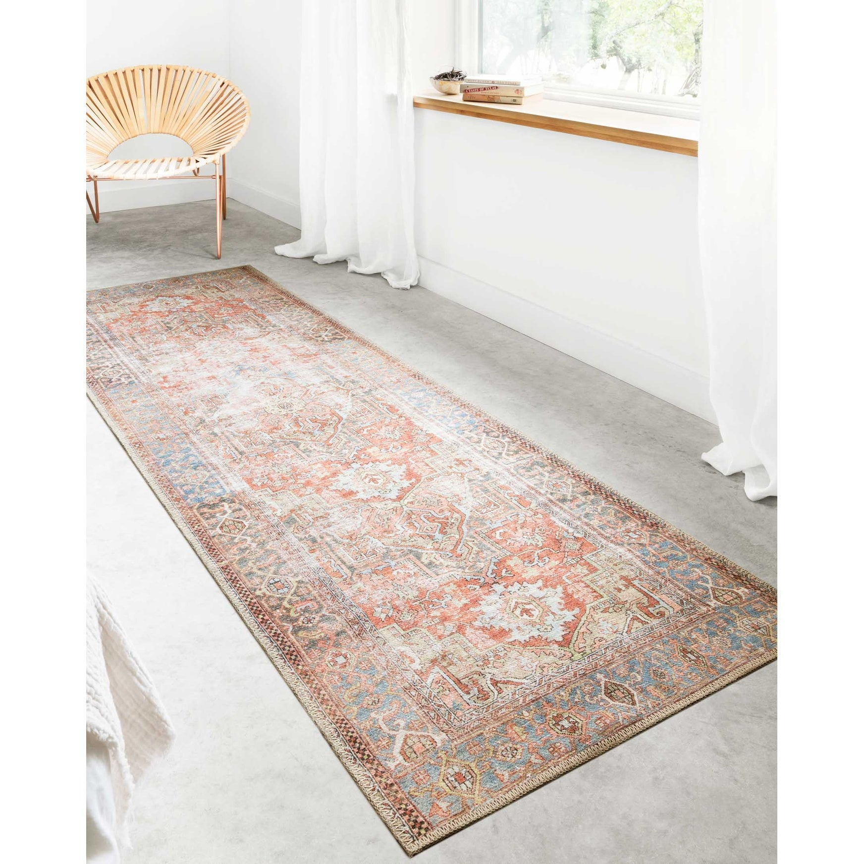 """Shop Alexander Home Tremezzina Printed Bohemian Terracotta Sky Distressed Rug - 2'6"""" x 7'6"""" Runner from Overstock on Openhaus"""