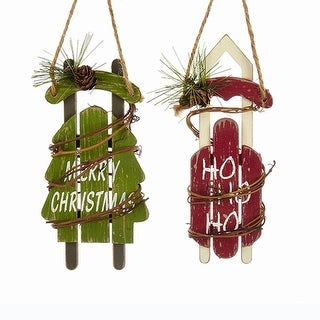 """Club Pack of 12 Red and Green Words Printed Sled Hanging Ornaments 12"""""""