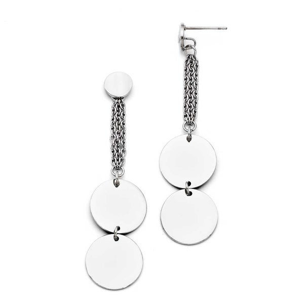 Chisel Stainless Steel Polished Post Dangle Circle Earrings