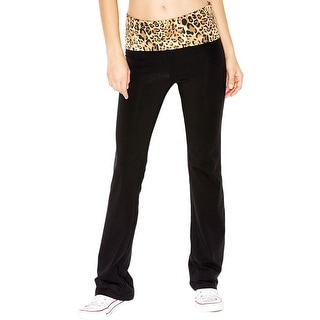 Guess Womens Yoga Pants Bootcut Fold-Over