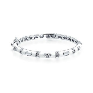 Bling Jewelry Baby Bangle Bracelet White Enamel CZ Pave Hearts Silver Plated