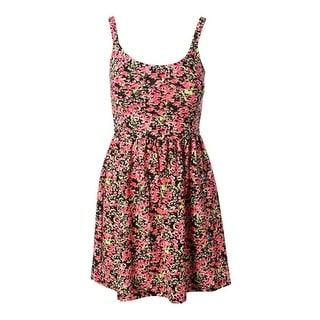 Aqua Womens Juniors Sleeveless Floral Print Casual Dress - XS