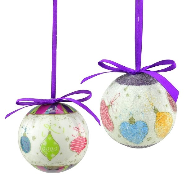 "8-Piece Purple and White Decoupage Shatterproof Christmas Ball Ornament Set 2.25"""