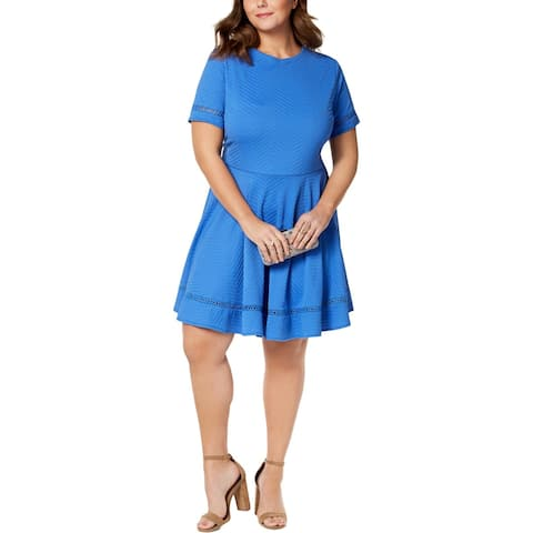 City Studio Womens Plus Mini Dress Lattice Stitch Easter