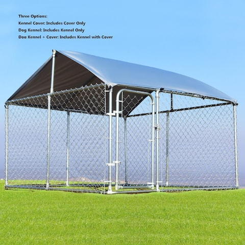 Gymax Large Pet Dog Run House Kennel Shade Cage 7.5' x7.5' Roof Cover