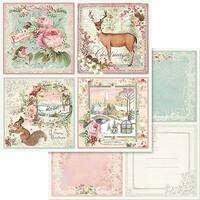 """Stamperia Double-Sided Cardstock 12""""X12""""-Pink Christmas Cards"""