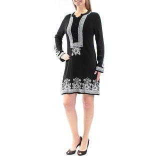 NANETTE LEPORE $398 Womens New 1099 Black White Embroidered Tunic Dress M B+B