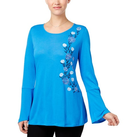 NY Collection Womens Pullover Top Embroidered Blouse