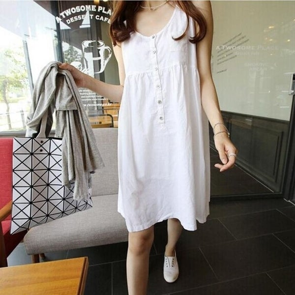 Shop White Short Mini Dress Women Summer Plus Size Loose ...