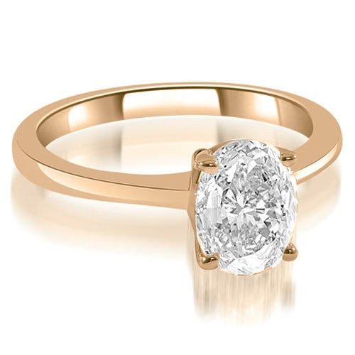 1.00 cttw. 14K Rose Gold Solitaire Oval Cut Diamond Engagement Ring