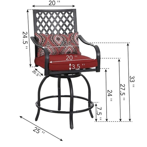 PHI VILLA Outdoor Swivel Metal Cushioned Bar Height Patio Chairs