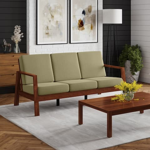 Carson Carrington Horuphav Mid-century Modern Exposed Wood Sofa