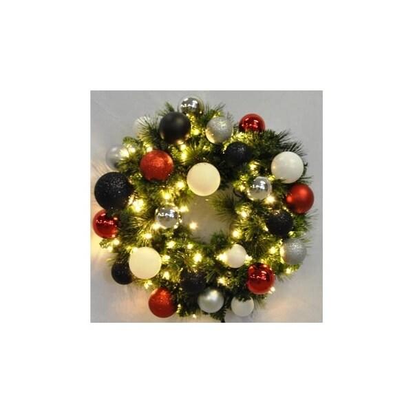 Christmas at Winterland WL-GWSQ-02-MOD-LWW 2 Foot Pre-Lit Warm White Sequoia Wreath Decorated with Modern Ornaments (Copy)