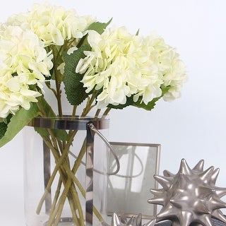 "FloralGoods Silk Hydrangea Stem in White 18"" Tall"